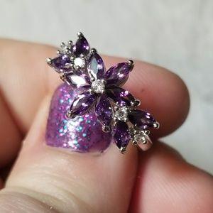 💜WOW💙 Amethyst Flower 925S Ring